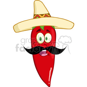 6776 Royalty Free Clip Art Smiling Red Chili Pepper Cartoon Mascot Character With Mexican Hat And Mustache clipart. Royalty-free image # 389555