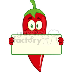 6774 Royalty Free Clip Art Smiling Red Chili Pepper Cartoon Mascot Character Holding A Banner clipart. Royalty-free image # 389575