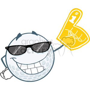 6496 Royalty Free Clip Art Smiling Golf Ball With Sunglasses And Foam Finger clipart. Royalty-free image # 389585