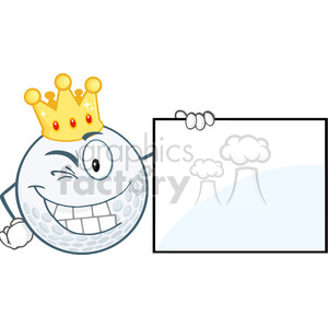 6500 Royalty Free Clip Art Winking Golf Ball With Gold Crown Showing A Sign clipart. Commercial use image # 389595