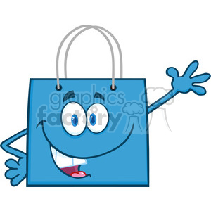 6724 Royalty Free Clip Art Smiling Blue Shopping Bag Cartoon Mascot Character Waving For Greeting clipart. Royalty-free image # 389625
