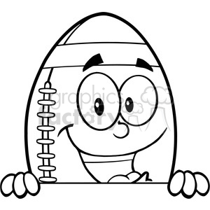 6581 Royalty Free Clip Art Black and White American Football Ball Cartoon Mascot Character Over Blank Sign clipart. Royalty-free image # 389647