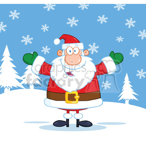 6659 Royalty Free Clip Art Happy Santa Claus With Open Arms For Hugging clipart. Royalty-free image # 389677