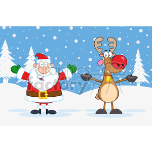 6667 Royalty Free Clip Art Happy Santa Claus And Rudolph Reindeer clipart. Commercial use image # 389687