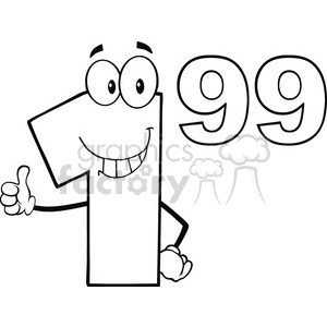 Black And White Price Tag Number 1-99 Cartoon Mascot Character Giving A Thumb Up