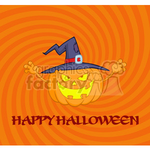 6612 Royalty Free Clip Art Scaring Halloween Pumpkin With A Witch Hat And Sign clipart. Royalty-free image # 389727