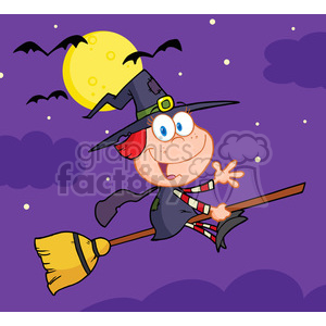 6631 Royalty Free Clip Art Halloween Little Witch Cartoon Character Waving For Greeting In The Night clipart. Royalty-free image # 389747