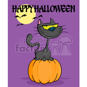 6623 Royalty Free Clip Art Halloween Cat On Pumpkin Cartoon Illustration clipart. Commercial use image # 389767