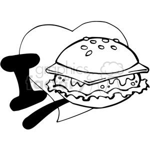 I love cheeseburgers in black and white clipart. Commercial use image # 389805