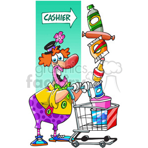 clown shopping at the store clipart. Commercial use image # 389815