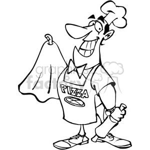 cartoon pizza maker in black and white clipart. Commercial use image # 389875