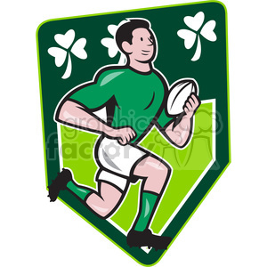 rugby player running ball side cartoon SHIELD clipart. Royalty-free image # 389950