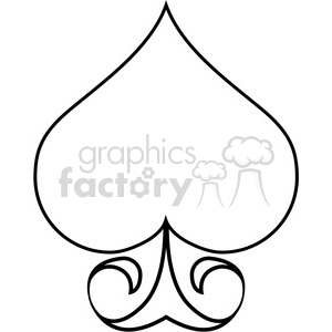 spade outline illustration clipart. Commercial use image # 390026