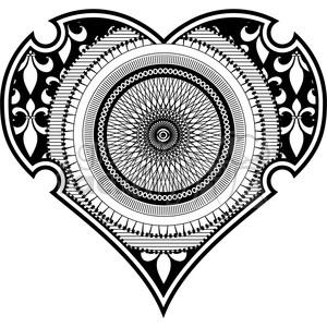 heart love outline black+white spirograph tattoo design RG