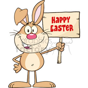 Royalty Free RF Clipart Illustration Funny Rabbit Cartoon Character Holding A Wooden Board With Text clipart. Commercial use image # 390106