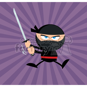 Royalty Free RF Clipart Illustration Angry Ninja Warrior Jumping With Katana Flat Design Over Purple Background clipart. Royalty-free image # 390116
