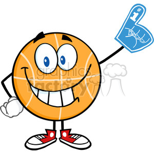 Royalty Free RF Clipart Illustration Smiling Basketball Cartoon Character With Foam Finger clipart. Royalty-free image # 390126