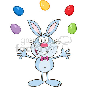 Royalty Free RF Clipart Illustration Cute Blue Rabbit Cartoon Character Juggling With Easter Eggs clipart. Royalty-free image # 390156