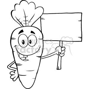 Royalty Free RF Clipart Illustration Black And White Funny Carrot Cartoon Character Holding A Wooden Board clipart. Royalty-free image # 390166