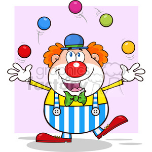 Funny Clown Cartoon Character Juggling With Balls with pink background clipart. Commercial use image # 390176
