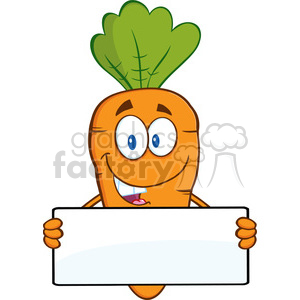 Royalty Free RF Clipart Illustration Funny Carrot Cartoon Character Holding A Banner clipart. Royalty-free image # 390206