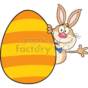 Royalty Free RF Clipart Illustration Cute Rabbit Cartoon Character Waving Behinde Easter Egg clipart. Commercial use image # 390216