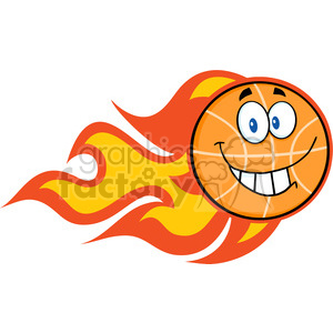 Royalty Free RF Clipart Illustration Smiling Flaming Basketball Cartoon Character clipart. Royalty-free image # 390226