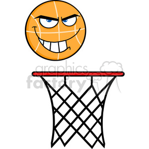 Royalty Free RF Clipart Illustration Angry Basketball Cartoon Character On Rim clipart. Royalty-free image # 390236