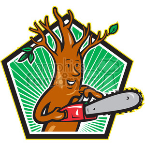 chainsaw tree cutting wood lumber lumberjack cartoon