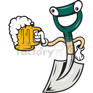 shovel holding beer front clipart. Commercial use image # 390408