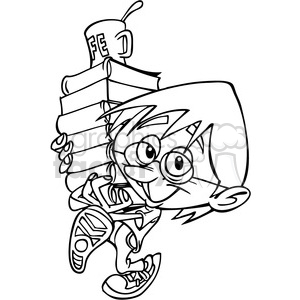 kid carrying a stck of books outline clipart. Royalty-free image # 390638