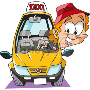 cartoon funny character taxi cab driver man driving uber ride yellow cab