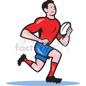 rugby player running with ball cartoon clipart. Royalty-free image # 391394