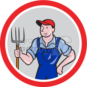 farmer holding pitchfork in circle clipart. Royalty-free image # 391424