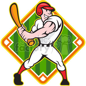 baseball player batting side baseball diamond clipart. Royalty-free image # 391444