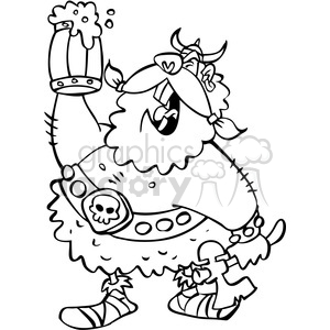 cartoon viking warrior drinking beer in black and white clipart. Royalty-free image # 391454
