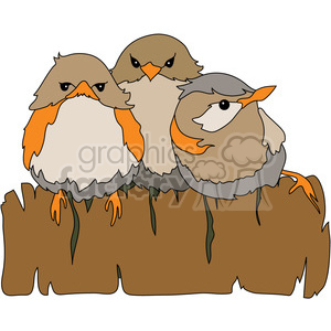 Baby Birds on Fence clipart. Commercial use image # 391569