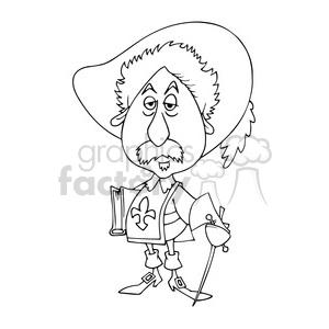 Alexandre Dumas bw caricature clipart. Royalty-free image # 391750