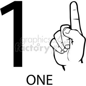 asl sign language 1 clipart illustration worksheet