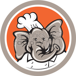elephant head chef in circle shape clipart. Royalty-free image # 392342