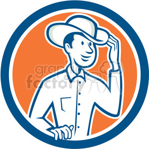 cowboy tipping hat in circle shape clipart. Royalty-free image # 392372