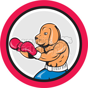 dog boxer side in circle shape clipart. Royalty-free image # 392412
