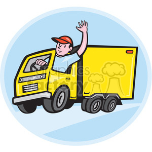 delivery truck driver waving shape clipart. Royalty-free image # 392422