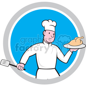 chef holding chicken front in circle shape clipart. Royalty-free image # 392432