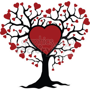 tree of life and love red hearts clipart. Commercial use image # 392567