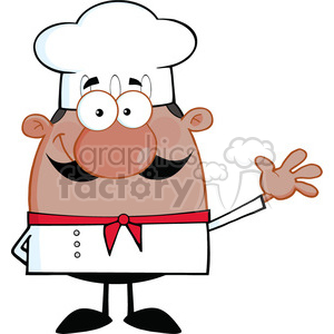 6833_Royalty_Free_Clip_Art_Cute_Little_African_American_Chef_Cartoon_Character_Waving_For_Greeting clipart. Royalty-free image # 393063
