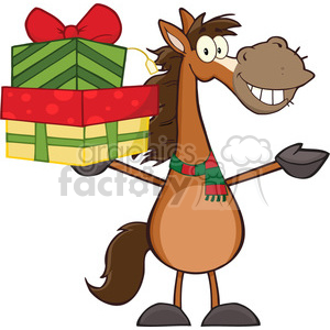 6877_Royalty_Free_Clip_Art_Smiling_Horse_Cartoon_Mascot_Character_Holding_Up_A_Stack_Of_Gifts clipart. Commercial use image # 393073
