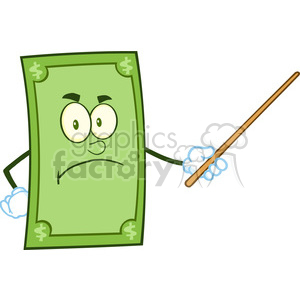 6856_Royalty_Free_Clip_Art_Angry_Dollar_Cartoon_Character_With_Pointer_Presenting clipart. Royalty-free image # 393083