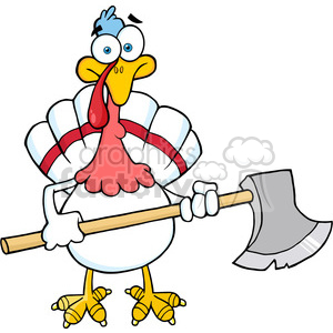 White Turkey With Axe Cartoon Mascot Character clipart. Commercial use image # 393093