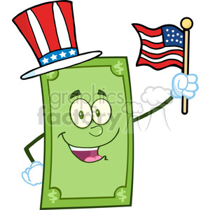Smiling Dollar With American Patriotic Hat Waving With USA Flag clipart. Royalty-free image # 393113